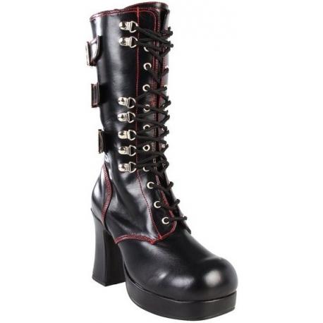 Chaussures gothiques bottes à sangles noires talon plateau gothika-101