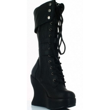 Chaussures gothiques femmes bottes noires à lacet talon compensé