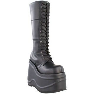 Chaussures gothiques bottes noires talon compensé wave-302