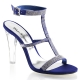 Chaussures à strass sandales coloris bleu talon haut clearly-418