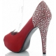 Escarpins satin rouge à strass
