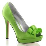 Chaussures en satin escarpin Peep Toe vert pomme lumina-42