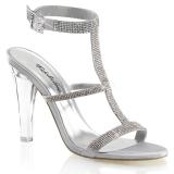 Chaussures à talon transparent nu-pieds argentés à strass clearly-418