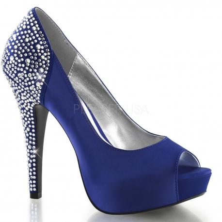 Escarpins à strass bleus