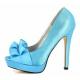 Escarpins satin bleu turquoise