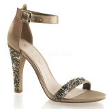 Chaussures à strass sandales bronzes talon large clearly-436