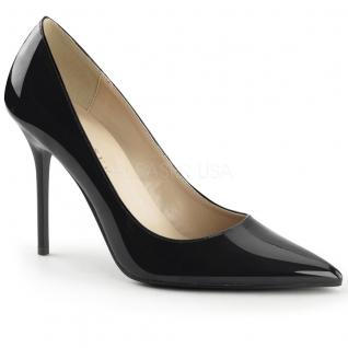 Chaussures talon aiguille escarpins noirs vernis bout pointu classique-20