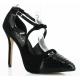 Chaussures d'Orsay escarpins noirs imitation serpent talon fin amuse-38sn