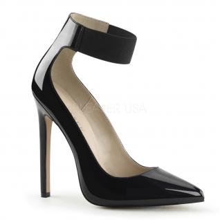 Chaussures vernies escarpins noirs à bride cheville talon haut sexy-33