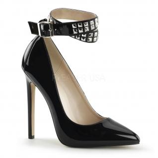 Chaussures vernies escarpins noirs à bride croisée talon aiguille sexy-24