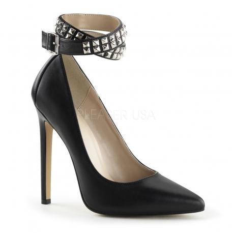 Escarpins cuir noir à bride sexy-24