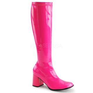 Chaussures fluorescentes botte disco coloris fushia talon carré gogo-300