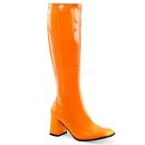 Chaussures fluorescentes botte disco coloris orange talon carré gogo-300