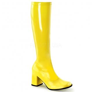 Chaussures fluorescentes botte disco coloris jaune talon carré gogo-300