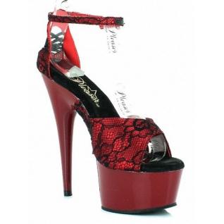 Sandale espagnole en satin rouge et noir talon haut DELIGHT-662-2LC