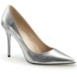 Chausssures argentées escarpins bout pointu talon haut classique-20
