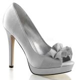 Chaussures argentées escarpins Peep Toe en satin talon fin lumina-42