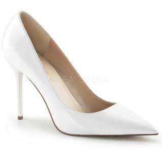 Chaussures à talon escarpins coloris blanc vernis classique-20