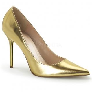 Chaussures à talon escarpins coloris or classique-20