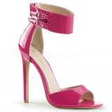 Sandales large bride coloris fushia vernis talon haut sexy-19
