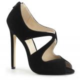 Sandales asymétriques en satin noir talon aiguille sexy-12