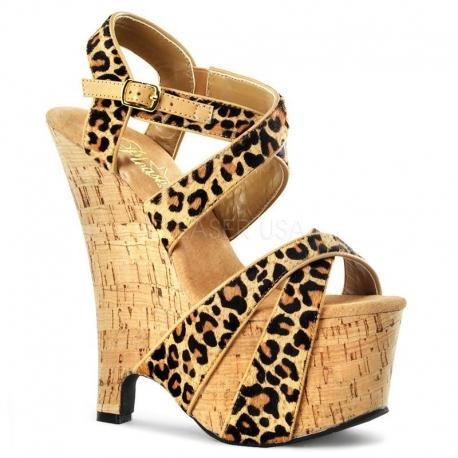Chaussures sandales léopard talon et semelle en liège beau-615