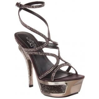 Sandales de Luxe Talon Plateforme Gris Métal DELUXE-620RS