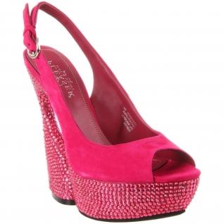 Sandales de Luxe Microfibre Fushia et Strass SWAN-654DM