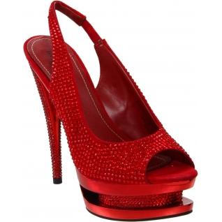 Nu-Pieds Haute Couture Strass Rouges Double Plateaux FASCINATE-654DM