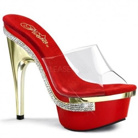 Chaussure mule rouge et transparente à strass talon haut royal-601