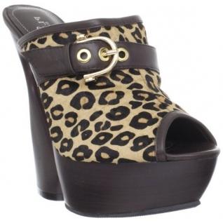 Chaussures mules en cuir noir et léopard talon haut swan-601lp