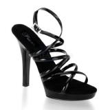 Chaussures nu-pieds noires vernies à fines brides talon fin lip-106