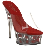 Chaussures modes mules transparentes plateforme rouge à fleurs delight-601fl