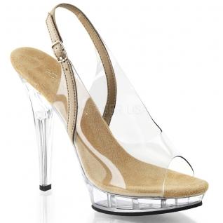 Nu-pied bicolore transparent et caramel talon haut LIP-150