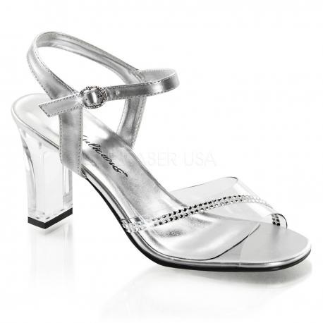 Chaussures petit talon sandales argentées à brides romance-308r