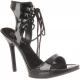 Chaussures sandales à lacets noires vernies talon aiguille VOGUE-35
