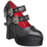 Chaussures gothiques escarpins à brides tête de mort talon large