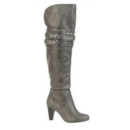 Chaussures genouillères grises à brides talon large JENNA
