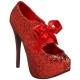 Escarpins à lacet paillettes rouges