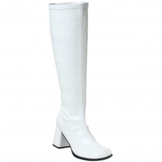 Bottes Mollets Larges Blanches Vernies Talon Large GOGO-300WC
