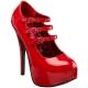 Escarpins à brides rouges vernis