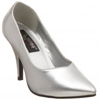 Escarpin pied large coloris argent talon haut