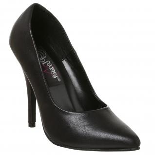 Chaussures escarpins en cuir noir talon aiguille SEDUCE-420