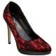 Escarpins en satin rouge et noir