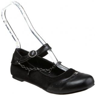 Ballerines gothiques en velours noir décoration chaine