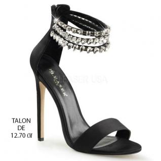 Chaussures en satin noir sandales à brides talon aiguille sexy-18