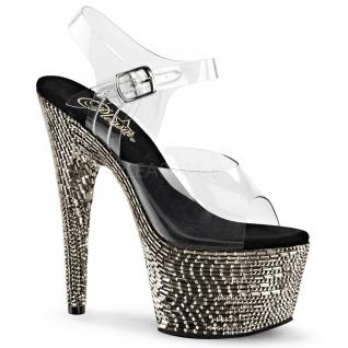 Sandales de Spectacle tranparentes et strass argentés plateforme bejeweled-708mr