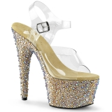 Nu-pied Spectacle transparent strass dorés talon plateforme bejeweled-708ms