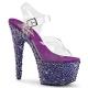 Sandale Spectacle transparente strass violets talon plateforme bejeweled-708ms