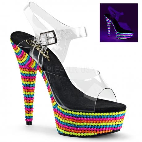 Sandales fluorescentes Pole Dance talon haut plateforme delight-608rbs